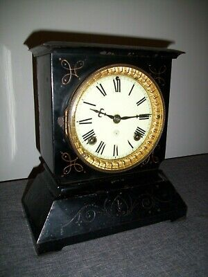 Antique 19th Century 1890's Ansonia Black Metal Mantel Clock (Architectural)