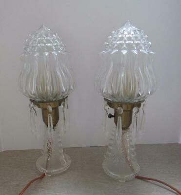 Pair Of Vintage Hollywood Regency Glass Lamps..art Deco..bullet..prisms