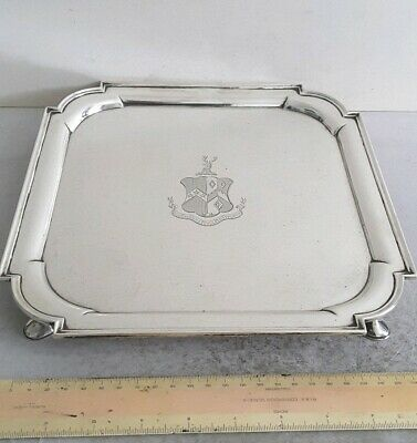 Quality, Heavy, Crested Antique Solid Silver Tray / Salver.  939Gms.   Lon.1896.