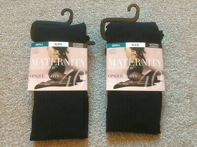 58d3b3a0e45a3 M&S Maternity Tights Black Maternity Bodysensor Opaque Tights Small 2 Pairs  New