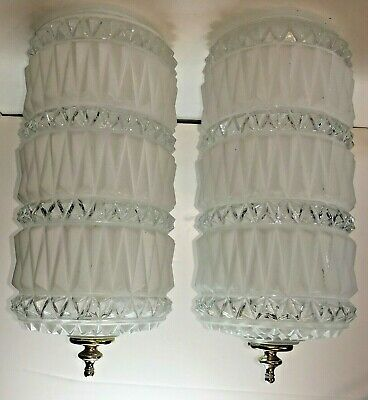Pair MID CENTURY MODERN LAMP SHADEs Frosted / Clear Swag GLOBE Hollywood Regency