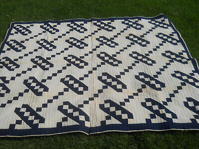 Antique Flying Geese Quilt-Indigo Blue-Old Country Quilt-Hand Quilted 78x64