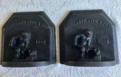 Decorative Cast Iron Bookends, Door Stops Charlotte Pipe & Foundry 1994/set of 2