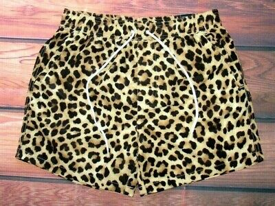 92f5ffbeb1 Mens Forever 21 Leopard Animal Print Drawstring Lined Swim Board Shorts Size  S