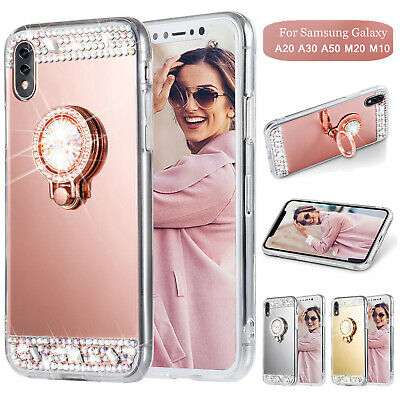 For Samsung Galaxy A30 A50 M20 Bling Diamond Mirror View Ring Holder Case Cover
