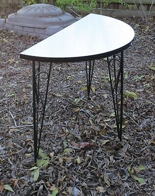 Vintage Atomic Retro 1960s Hall table - wrought iron & formica. brass feet. EC