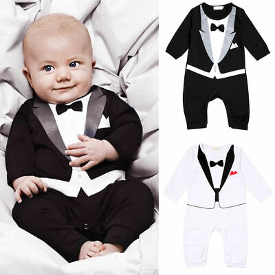 Boy Kids Baby Tuxedo Suit Outfits Jumpsuit Romper Bodysuit Gentleman 0-24Months