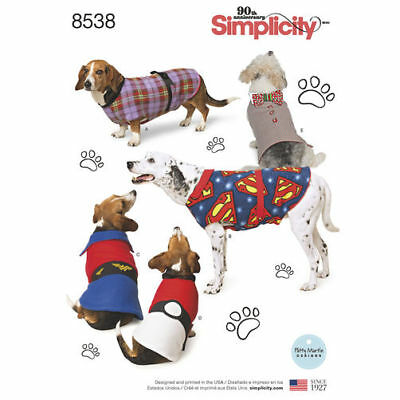 Simplicity Sewing Pattern Craft 8538 Warm Dog Coats in 3 Sizes S-M-L