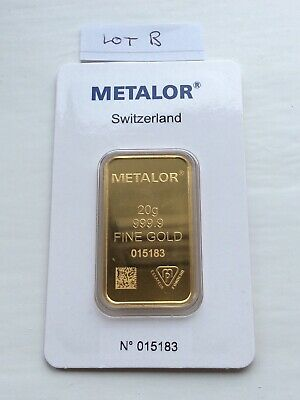 Metalor 20g minted gold bar - sealed in certified assay packet - Free P&P-Lot B