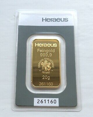 Heraeus 20g minted gold bar - sealed in certified assay packet - Free P&P