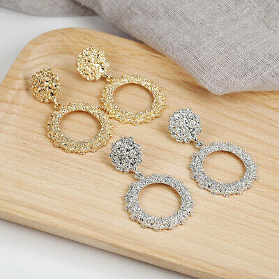 Vintage Earrings For Women Golden Silver Color Round Circle Hollow Punk Earring
