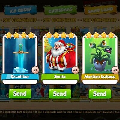 3 Cards Pack Bundle | Excalibur | Santa | Martian Lettuce | Coin Master