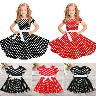 bbdc6d29c40e Kids Girls Vintage Bow Dress Polka Dot Princess Swing Rockabilly Party  Dresses