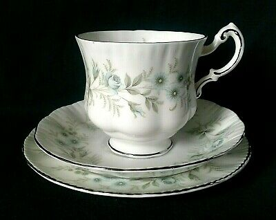 Paragon Debutante Tea Trio Bone China Tea Cup Saucer And Side Plate Blue Flowers