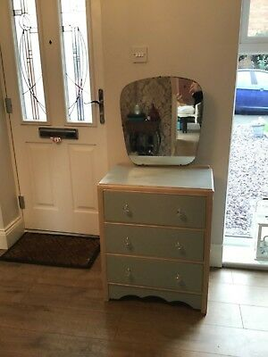 Upcycled vintage chest of draws with mirror. French chic paint - Collect only