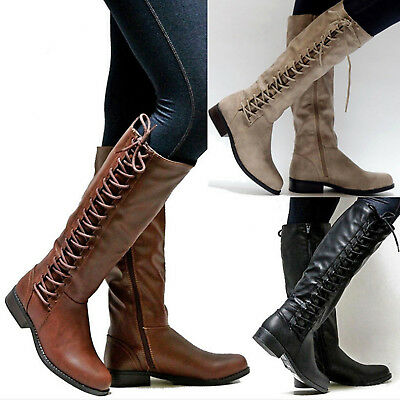 Womens Faux Leather Knee Thigh High Boots Low Flat Heel Zip Lace Up Winter Shoes