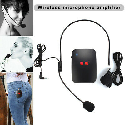 FM Wireless Microphone Transmitter with Headset Mic&Lapel for Teacher Tour Gu SU