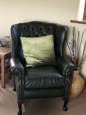 Chesterfield Green Leather High Back Chair