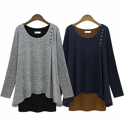 Plus Size Womens Casual Long Sleeve Sweatshirt Pullover Loose Jumper Tops Winter