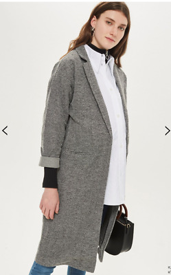 New with tags size 8 Topshop maternity long jacket check tweed grey black £49