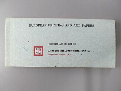 Paper Specimen Swatch Book, European Printing and Art Papers, A/N/W