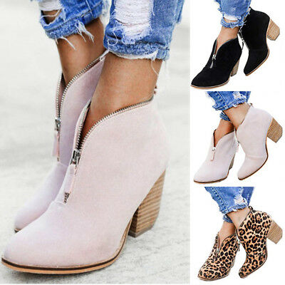 Womens Zip Leather Slip On Ankle Boots Pointed Toe Mid Block Heels Bootie Shoes