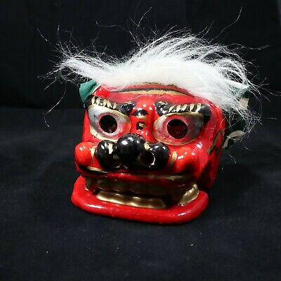 Japanese Mingei Folkcraft Toy Wooden Ryukyu Shisa Shishi Lion Foo Dog Lion Guard