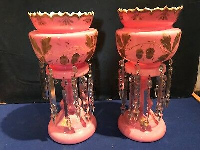 Beautiful Victorian large pair of lustres
