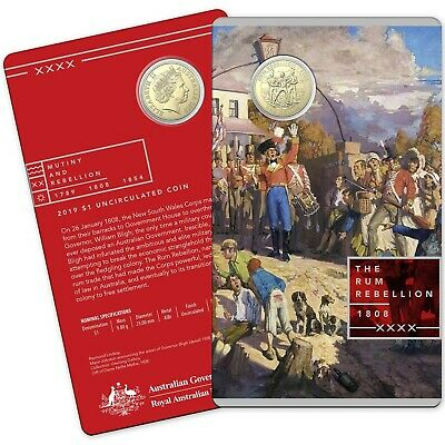 2019 $1 The Rum Rebellion Uncirculated Coin Carded - Mutiny and Rebellion