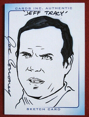 THUNDERBIRDS - Scarce INK Sketch Card - JEFF TRACY, JOE CORRONEY, Cards Inc 2004