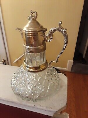 Antique Crystal & Silver Plated Wine  or Claret Carafe/Decanter Picture/Jug