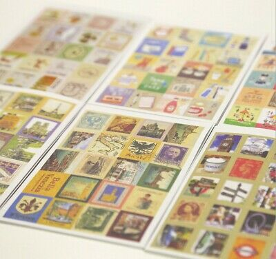 80 Pcs Stamp Stickers Vintage Style DIY Scrapbooking Diary Junk Journal Craft