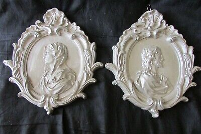 Pretty Pair Large Vintage French Spelter Religious Plaques Madonna Christ