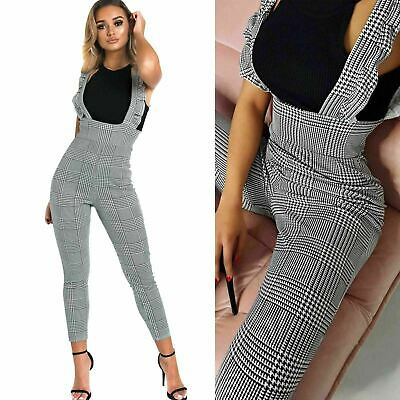Ladies Womens Ruffle Pinafore Strap Check Hound Tooth Jumpsuit Playsuit Romper
