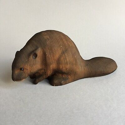Wooden Hand Carved Beaver Figurine by Kadian Crafts Ltd Canada