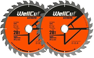 2 x WellCut Plunge TCT Saw Blade 165mm x 28T x 20mm DWS520 DCS520 SP6000 GKT55