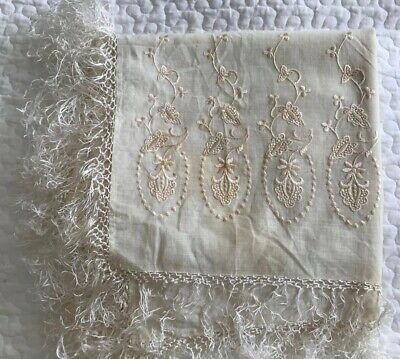 Antique Cream & Silk Floral Embroidered Tasseled Piano Shawl Throw Scarf 54x52""