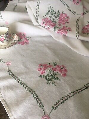 Vintage Hand Made White Linen Pink And Green Floral Embroidered Tablecloth