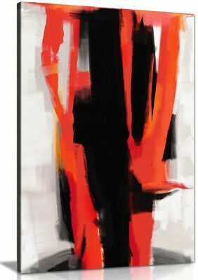 Abstract Expressionist Painting Black White Red Canvas Wall Art Picture Print