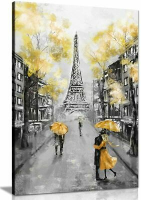 Yellow Black & White Paris Painting Canvas Wall Art Picture Print