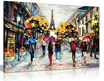 Modern Oil Painting Colourful Paris Canvas Wall Art Picture Print