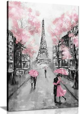 Pink Black & White Paris Painting Canvas Wall Art Picture Print