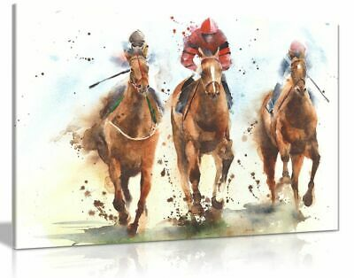 Horse Racing Watercolour Canvas Wall Art Picture Print