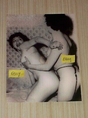 5X7 Vintage Photo 2 Naked Women Grabbing Each Other Lesbian Love Nude Woman