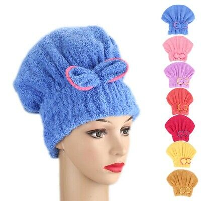 Women Microfibre Quick Hair Drying Bath Spa Bowknot Wrap Towel Hat Cap SU