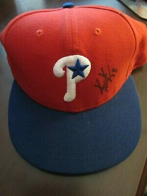 6a7ed944510143 Kyle Kendrick 2007 Game Used Signed Rookie Season Interleague Hat Cap  Phillies