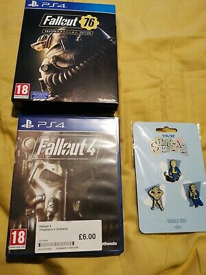 Fallout 76 & Fallout 4 Bundle PlayStation PS4 Game with Fallout Special Badges