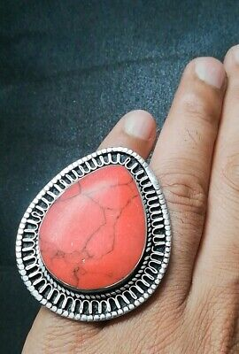 Rare Womens HUGE Red Turquoise Stone RING GYPSY Islamic Afghan TRIBAL Jewellery