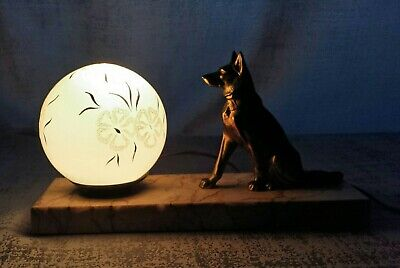 Art Deco Table Lamp Onyx Marble Shepherd Dog Statue 1930 Signed French Working