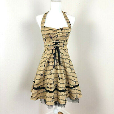 ee28fa5b89d0 HOT TOPIC RETRO MUSIC NOTE W/ TULLE Sz Small SWING DRESS , NWT ...